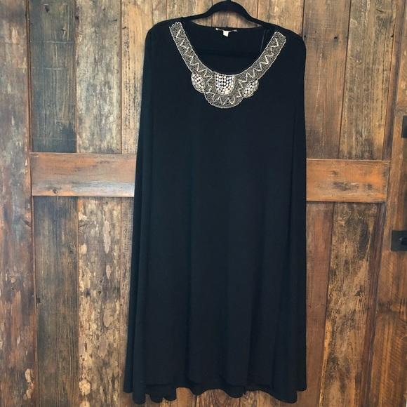 Haani Dresses & Skirts - Haani, 1X, NWT, Black Cocktail Dress w/Cape
